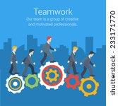Flat Style Modern Teamwork ...
