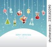 christmas greeting card  red... | Shutterstock .eps vector #233182090