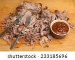 pulled pork with bbq sauce | Shutterstock . vector #233185696