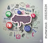 social network collage with... | Shutterstock .eps vector #233225224