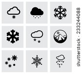 vector snow icon set on grey...