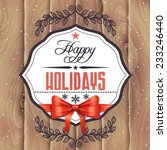 vector holiday card with wood... | Shutterstock .eps vector #233246440