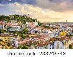 lisbon  portugal skyline at sao ... | Shutterstock . vector #233246743