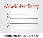 blank what's your story list ...