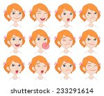 set of cartoon cute caucasian... | Shutterstock .eps vector #233291614