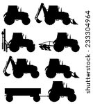 Set Icons Tractors Black...