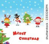 costumed kids christmas messages   Shutterstock .eps vector #233328094
