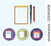 notebook  .  set from 3 round... | Shutterstock .eps vector #233342608