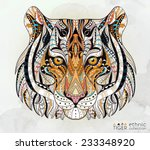 patterned head of the tiger on... | Shutterstock .eps vector #233348920