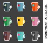 tea mugs in retro colors  | Shutterstock .eps vector #233366686