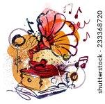 gramophone sketch | Shutterstock .eps vector #233368720