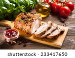 roasted pork loin with... | Shutterstock . vector #233417650