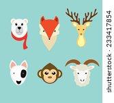 adorable animals head icon set   Shutterstock .eps vector #233417854