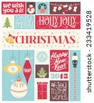 colorful vintage christmas and... | Shutterstock .eps vector #233419528