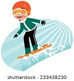 cartoon snowboarder fun coming... | Shutterstock . vector #233438230