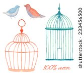 vintage watercolor cages and... | Shutterstock .eps vector #233456500