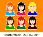 set of female faces with... | Shutterstock .eps vector #233463304