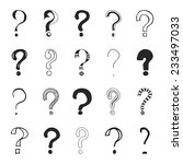 Stock vector set of hand drawn question marks vector illustration 233497033