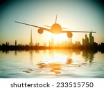 dubai. plane flies on the... | Shutterstock . vector #233515750