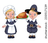pilgrims with turkey on a... | Shutterstock .eps vector #233517139