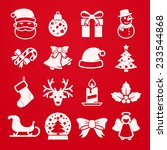 cute christmas icons set    red | Shutterstock .eps vector #233544868
