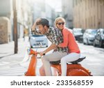 glamorous  young couple riding  ... | Shutterstock . vector #233568559