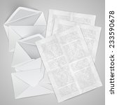 envelopes with crumpled letters ... | Shutterstock .eps vector #233590678