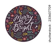merry and bright lettering in... | Shutterstock .eps vector #233607709