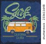 surfer vector set.vintage surf... | Shutterstock .eps vector #233611648