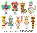 a set of  9 aztec gods and... | Shutterstock . vector #233636380