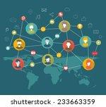 social network flat concept   Shutterstock .eps vector #233663359