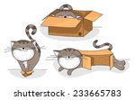 Stock vector cute and funny cartoon cat in different sized cardboard boxes 233665783