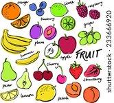 group of fresh fruit doodle... | Shutterstock .eps vector #233666920