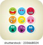 nine vector smile color face...   Shutterstock .eps vector #233668024