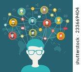 social network flat concept | Shutterstock .eps vector #233669404