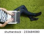 Teenage Girl With Laptop ...