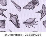seamless seashell pattern...   Shutterstock .eps vector #233684299