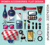 Women Accessories. Flat Design.
