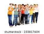 group of smiling children... | Shutterstock . vector #233817604