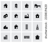 vector black buildings icons set | Shutterstock .eps vector #233819620