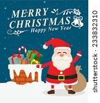 santa hold gift on snowy roof | Shutterstock .eps vector #233832310