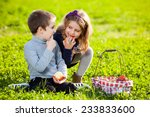 happy kids eating fruits from... | Shutterstock . vector #233833600