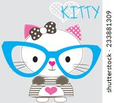 Stock vector cute white cat with glasses gray background vector illustration 233881309