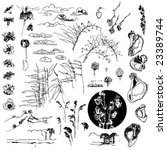 a big collection of ink drawing ... | Shutterstock .eps vector #23389744