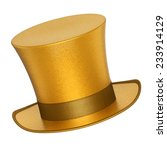 3D rendered golden decoration top hats with shiny metallic flakes style surface - isolated on white background
