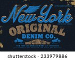 new york denim tee graphic | Shutterstock .eps vector #233979886