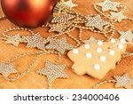 golden stars and a red bauble... | Shutterstock . vector #234000406