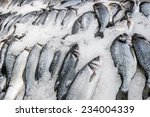 Fresh Fish Carcasses Lie On Ic...