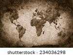 Ancient  Old World Map. Pencil...