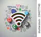 social network collage with...   Shutterstock .eps vector #234077740